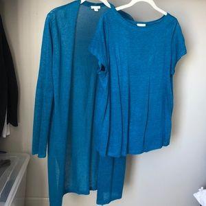 J.jill linen shirt with matching cardigan